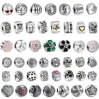 Silver European Charm Beads For Sterling 925 Necklace Bracelet Chains Clip uk