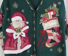 Tiara 18/20 Christmas Sweater Santa Cardigan Plus Size Green Pink Red Gold
