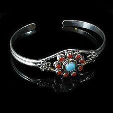 Sterling Silver Turquoise Coral Flower Cuff Bracelet