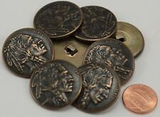 "8 Large Antiqued Brass Tone Puffed Indian Head Metal Buttons 1 1/8"" 29MM # 6272"