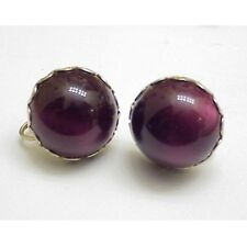 Vintage Moonglow Screw Earrings Dark Red-Purple Acrylic Domed Button -Silvertone