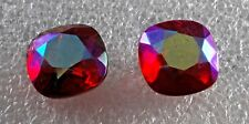 Vintage Czech Glass Bead 2 Red AB Square Table Cut Faceted Jewelry DIY