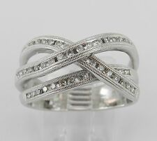 White Gold Diamond Crossover Wedding Ring Multi Row Band Size 8