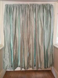 "Laura Ashley 70% Silk Duck egg blue Curtains fully lined L79""  W88"" Each curtain"
