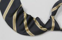 Ermenegildo Zegna Recent Navy Blue w/ Gold Repp Stripes Silk Necktie Tie