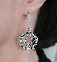 Adjustable Clip-on Pentacle Dangle Earrings Silver-tone Sabbat Wiccan Pagan Gift