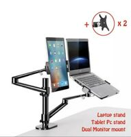 Aluminum Height Adjustable Desktop Dual Arm 17-32 inch Monitor Holder+10-17 inch