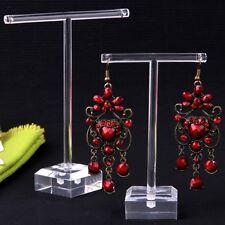 2pcs/Set Clear Plastic Earrings Showcase Display T Bar Stand Holder Organizer HN