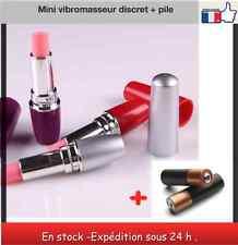 Mini vibromasseur discret en forme de rouge à lèvres+piles femme couple