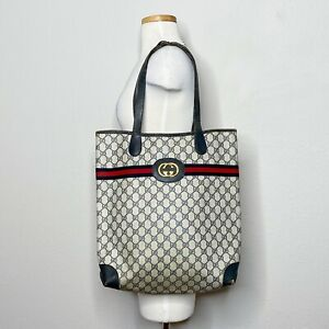 GUCCI Vintage 80s FLAW Navy Supreme GG Monogram Shopper Tote Handbag XL