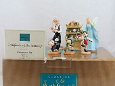 """WDCC """"Pinocchio Ornament Set"""" 6 Piece Christmas Ornaments in Box with COA"""
