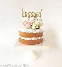 'ENGAGED' Gold Glitter Cake Topper, Engagement Party Wedding Cake Decoration
