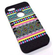 for iPhone 5 5s SE Bright Tribal Black Hard & Soft Hybrid Rubber Koolkase Case