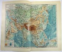 Original 1924 German Physical Map of Asia by Meyers. Vintage