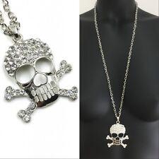 Set XXL Lang Kette + Anhänger Totenkopf Skull Halskette Strass 91