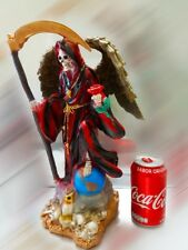 "Santa Muerte roja 15"" Grim Reaper Holy Death red Skull Skeleton red statue love"