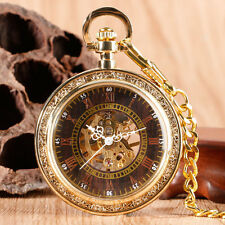 Classic Roman Numerals Open Face Gold Mechanical Hand Winding Pocket Watch Gift