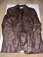 Women's PENDLETON Leather Blazer Jacket Coat Size M Button Front Brown GREAT