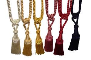 Curtain Holder Tie Backs, Silky, Satin Knotted Design Holdback Tassels Ties Clip