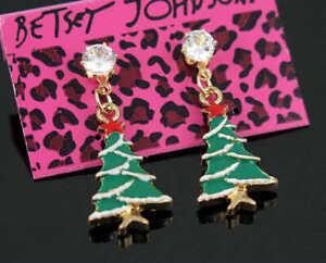 Jewelry Betsey Johnson Fashion Enamel Christmas tree white Rhinestone Earrings