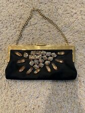 Devi Kroell Black Satin Jeweled Evening Clutch Handbag