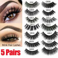 3D Mink Eyelashes 5 Pairs Natural False Long Thick Handmade Lashes Makeup