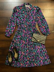 VINTAGE 1980's Leslie Fay Floral Print Long Sleeve Pleated Skirt Midi Dress Sz 9
