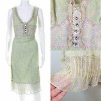 Elie Tahari Womens Sleeveless Empire Waist Silk Dress Lt Green Ruffle Trim Sz 4