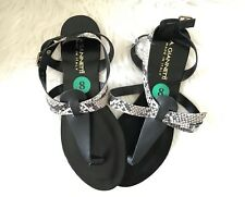 A. GIANNETTI SANDALS LEATHER  8M FLATS BLACK AND SNAKE SKIN