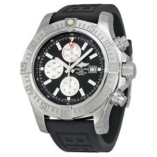 Breitling Super Avenger II Chronograph Automatic Black Dial Black Rubber Mens