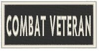 COMBAT VETERAN Embroidered Iron-On Patch Morale Biker Emblem White Border