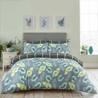 GREY LEAVE PRINT DUVET COVER BEDDING SET 100% COTTON 200TC DOUBLE SUPER KING
