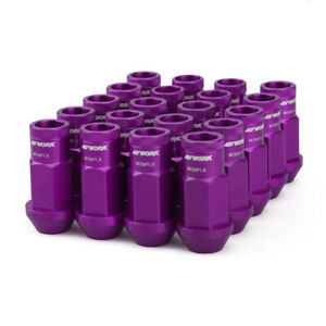 20pc M12x1.5 Lock Lug Nuts Aluminum Purple Racing Tuner Wheel Nut Open End w/Key