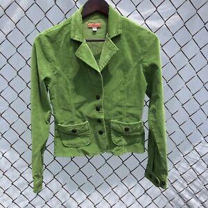 Adriana Womens corduroy Blazer Jacket Lime Green Size Medium Snaps Pockets