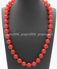 24'' Genuine 12mm Natural Red Jade Round Gemstone Beads Necklace Jewelry PN1298
