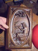 Ancien Panneau Résine Joueur de Bombarde Breton Folklore de Bretagne