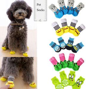 4pcs Warm Puppy Dog Pet Shoes Soft Pet Knits Socks Cute Cartoon Anti Slip Socks