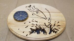 Scroll Saw Carved Wooden Bass Busting Water Wall Clock