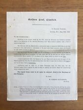 1895 Golden Leaf Limited Shareholders Letter Gold Mining Iron Scripophily (F7P5)