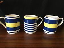 Kate Spade New York Navy Blue and White Yellow Coffee Mugs (3)