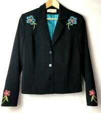 Sage West Blazer Jacket Womens Sz M Western Embroidered Crystal Black USA made