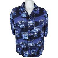 George Mens Hawaiian Shirt Sz L Lg Classic Cruise Lines Blue Cars Surf Button Up