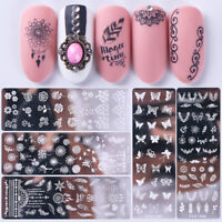 Reusable Nail Art Stamping Plates Flowers Nail Stencils Template - Gels Polish