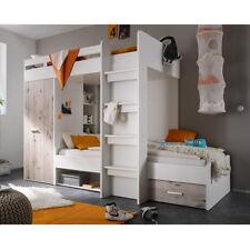 Hochbett Maxi Kinderbett Etagenbett Kinderzimmer Schrank weiß Sandeiche