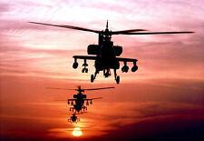 Stampa incorniciata-elicotteri apache per PATROL Tramonto (foto poster arte militare)