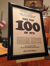 "BIG 9x12 FRAMED CHUM 1050 AM TORONTO ""THE TOP 100 OF 1974"" RADIO SHOW PROMO AD"