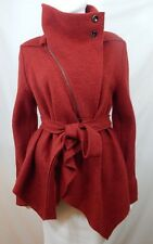 Crea Concept Brick Red Boiled Wool Unlined Asymmetrical Hem Belted Jacket 38 GB