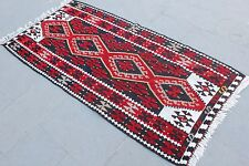 "Vintage Handmade Turkish Wool Red Black Area Kilim Rug  73""x36"""