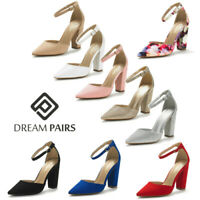 DREAM PAIRS Women Pump Pointed Toe Ankle Strap High Chunky Heel Dress Pump Shoes