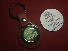 Land Rover 'The Best 4X4 By Far' Leather Key Rings In Black/Tan + FREE STICKER